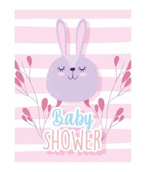 Baby shower, dibujos animados de decoración de ramas de cara de conejo lindo, tarjeta de invitación de tema