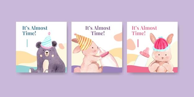 Baby shower diseño tarjeta acuarela ilustración