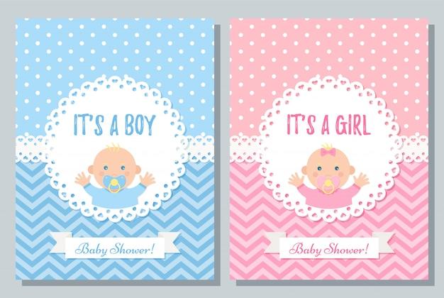 Baby shower diseño de tarjeta reeting. conjunto