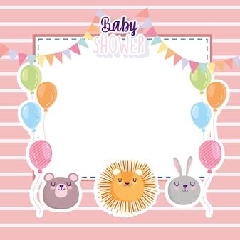 Baby shower, divertido león conejo y oso caras globos tarjeta ilustración vectorial