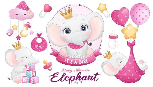 Baby shower de elefante lindo doodle con conjunto de ilustración de acuarela