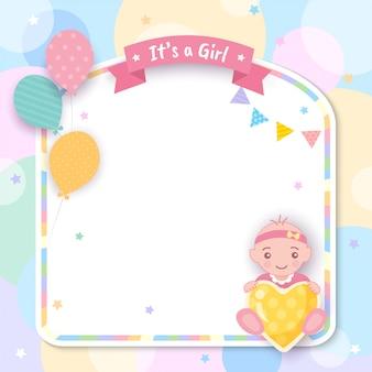 Baby shower. es una niña con globos y marco.