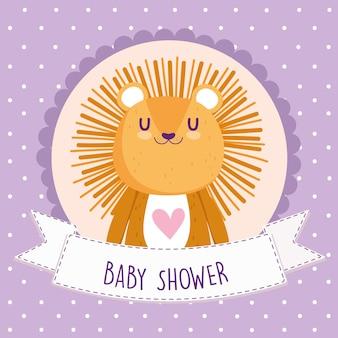 Baby shower, ilustración de vector de tarjeta animal de dibujos animados lindo león