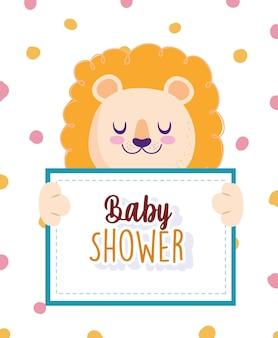 Baby shower león animal sosteniendo banner y puntos ilustración de vector de fondo