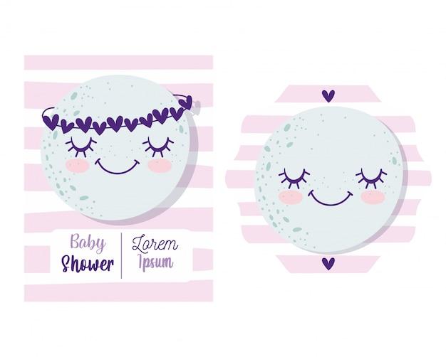 Baby shower, linda luna con dibujos animados de corona de corazones, tarjeta de invitación temática