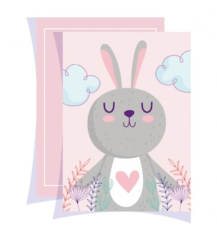 Baby shower, lindo conejito corazón hojas encantadoras tarjeta de dibujos animados floral