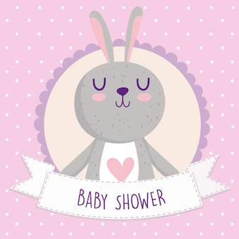 Baby shower, lindo conejo de dibujos animados tarjeta animal ilustración vectorial