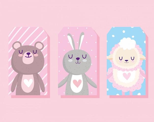 Baby shower, lindo conejo, oveja y oso tarjeta de celebración de dibujos animados
