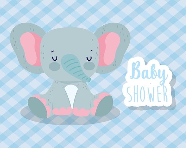 Baby shower lindo elefante sentado con corazones amor cartoon