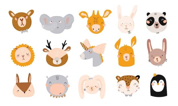 Baby shower lindo en estilo escandinavo que incluye citas de moda y elementos decorativos de animales frescos dibujados a mano. ilustración de dibujos animados doodle niños para decoración de habitación infantil, niños