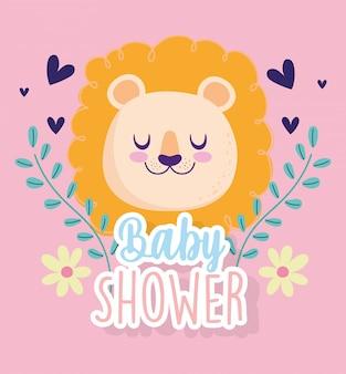Baby shower, lindo león cabeza corazones flores decoración dibujos animados, tarjeta de invitación temática