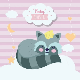 Baby shower lindo mapache durmiendo animal cartoon