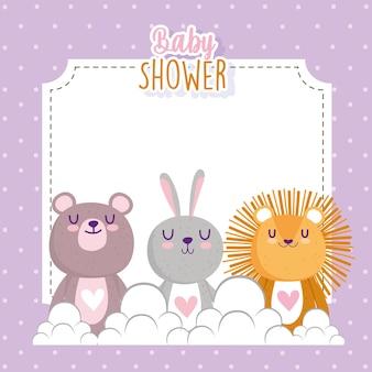 Baby shower lindo pequeño león conejo y oso tarjeta de invitación ilustración vectorial
