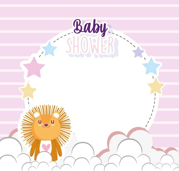Baby shower, lindo pequeño león dibujos animados estrellas marco banner vector ilustración