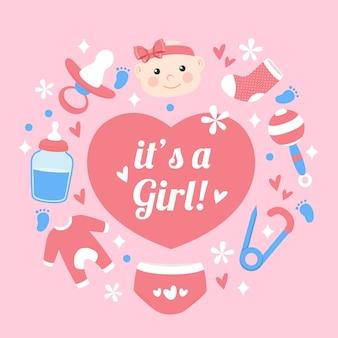 Baby shower (niña) con corazón