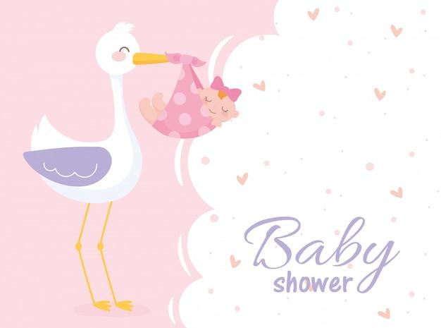 Baby shower, niña en manta con cigüeña bienvenida tarjeta de celebración recién nacida