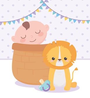 Baby shower, niño en canasta y lindo león con chupete, celebración bienvenida recién nacido