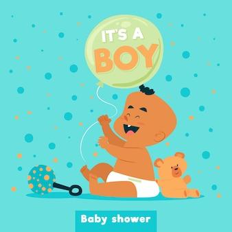Baby shower para niño con lindo bebé