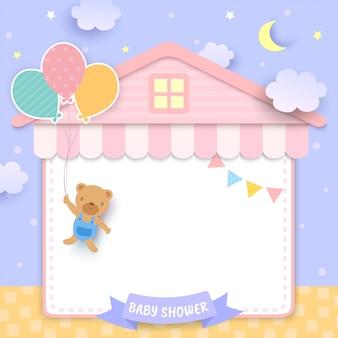 Baby shower con oso sosteniendo globos y marco de casa.