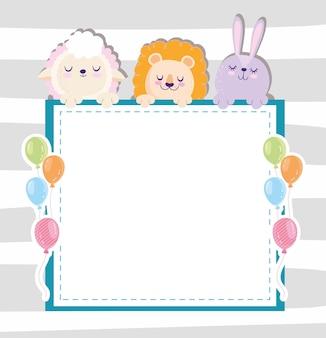 Baby shower ovejas león y conejo con globos y banner ilustración vectorial