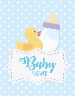 Baby shower, pato juguete y botella de leche punteada evento de celebración de fondo azul