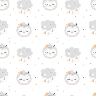 Baby shower de patrones sin fisuras con pájaros y nubes. patrón de niños