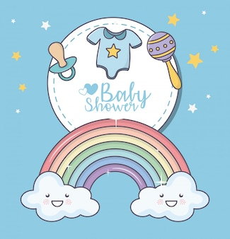 Baby shower rainbow cloud cartoon sonajero chupete ropa tarjeta