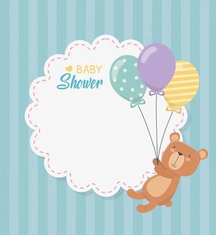 Baby shower tarjeta de encaje con osito osito y globos helio.