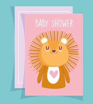Baby shower, tarjeta de invitación de dibujos animados lindo retrato de león