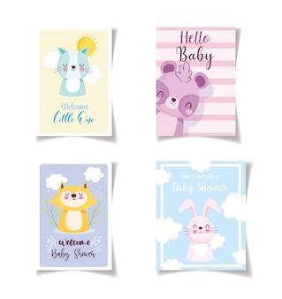 Baby shower tarjetas de celebración de animales pequeños, plantilla de invitación de bienvenida