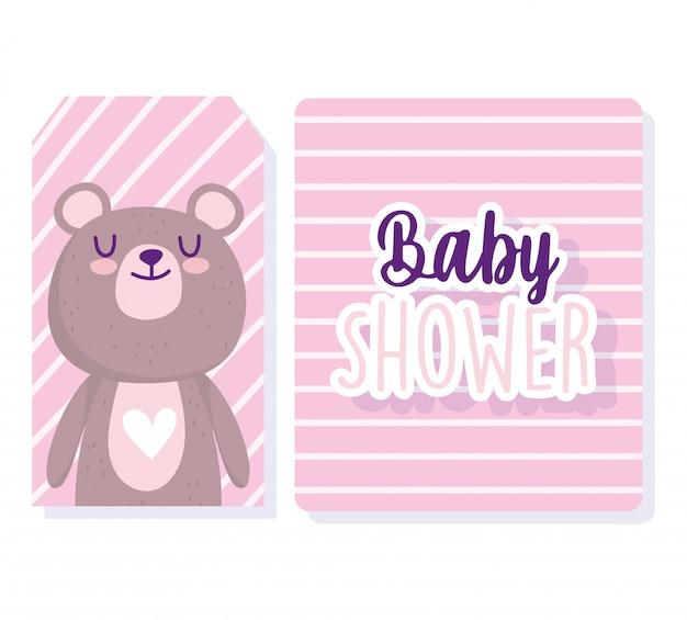 Baby shower, tarjetas de fondo de rayas de dibujos animados de animales oso lindo