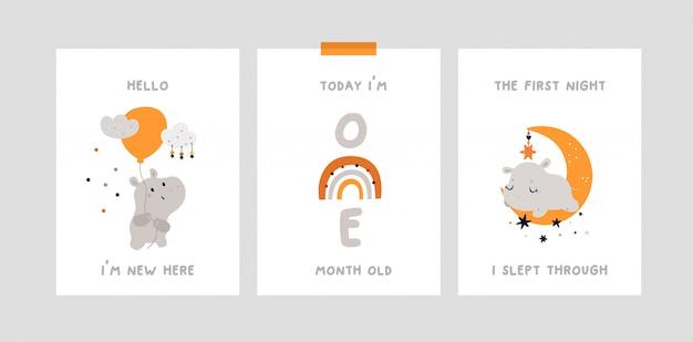 Baby shower, tarjetas de hitos con lindo hipopótamo
