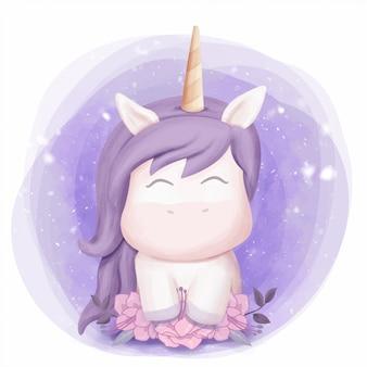 Baby unicornio dulce retrato acuarela