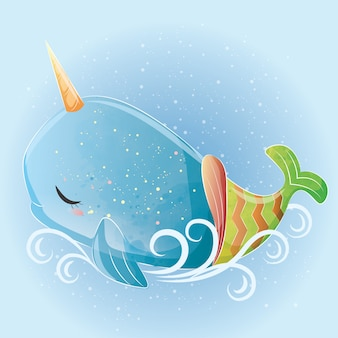 Baby whale unicorn mermaid