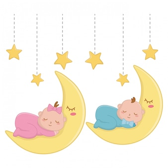 Babys durmiendo sobre la ilustración de la luna