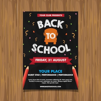 Back to school event flyer fondo de pizarra