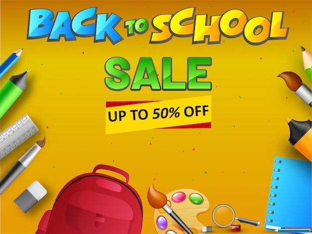 Back to school sale diseño de banner o cartel con 50% de descuento.