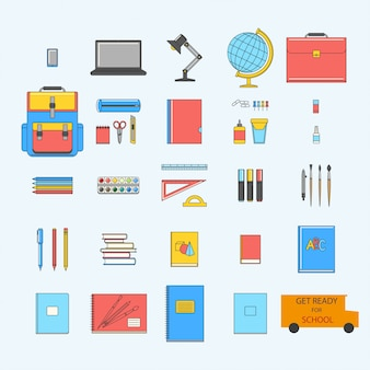 Back to school set iconos