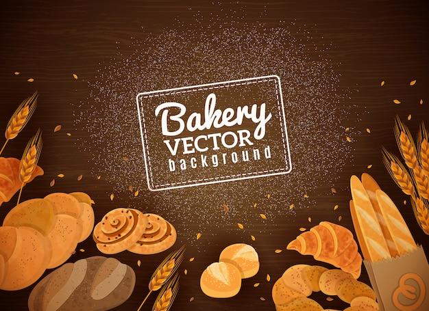 Backery fresh bread fondo de madera oscura