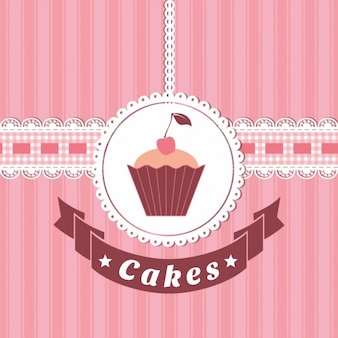 Background with a cake and a ribbon