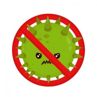 Bacteria enojada en señal de prohibición.