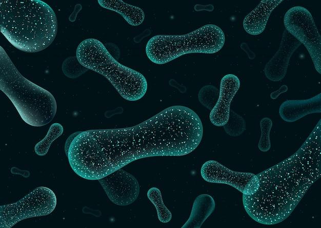Bacterias 3d bajo poli renderizado de probióticos. flora de digestión normal saludable de la producción de yogur del intestino humano. primer microscópico de bacterias.