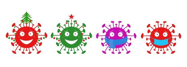 Bacterias del coronavirus de la historieta de las vacaciones de invierno conjunto aislado en un fondo blanco.