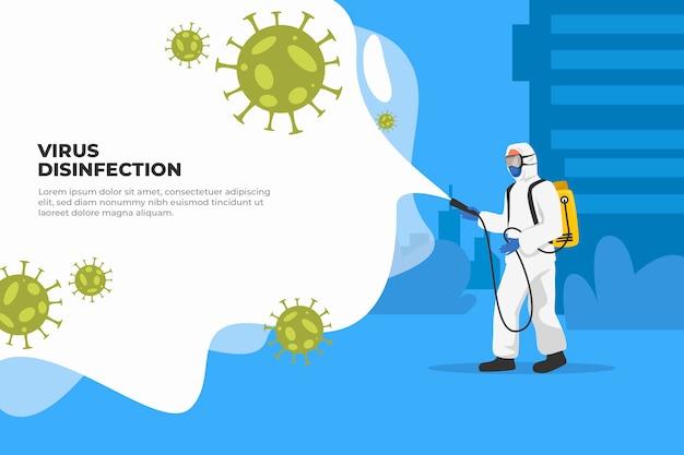 Bacterias pandémicas de coronavirus y hombre en traje de materiales peligrosos