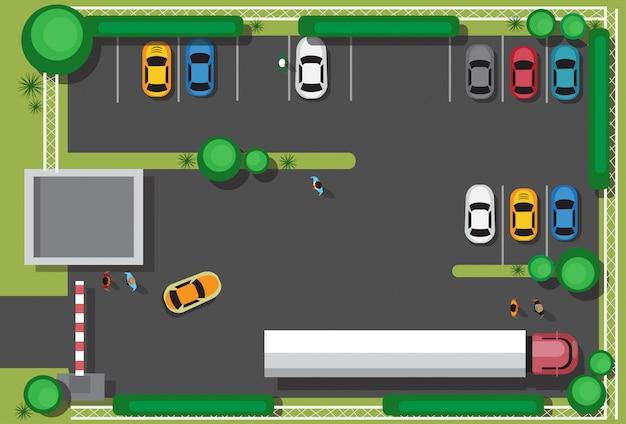Bad city parking bloqueando los coches concepto vista de ángulo superior