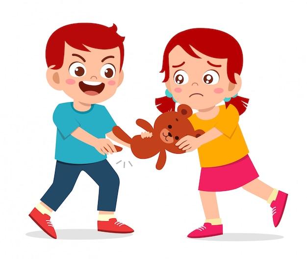 Bad little kid boy intimidar a su amigo ilustración