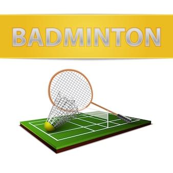Badminton volante y emblema de raqueta.