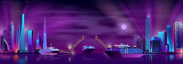 Bahía de la ciudad con fondo de vector de dibujos animados puente levadizo