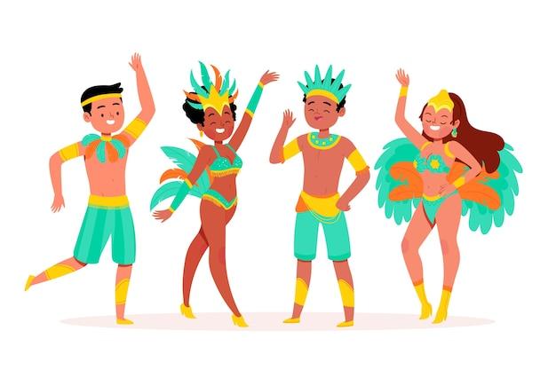 Bailando y celebrando a la gente con ropa de fiesta