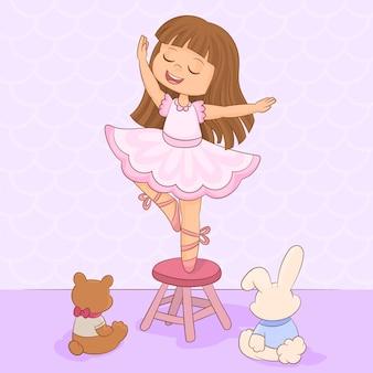 Bailando delante de sus juguetes de peluche